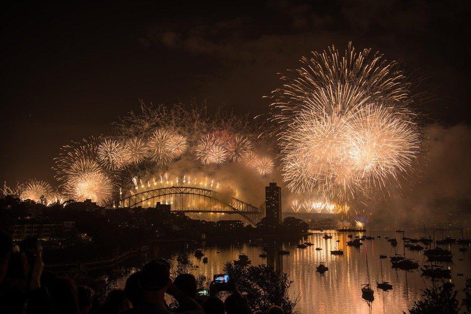 A fireworks display over Sydney Harbour