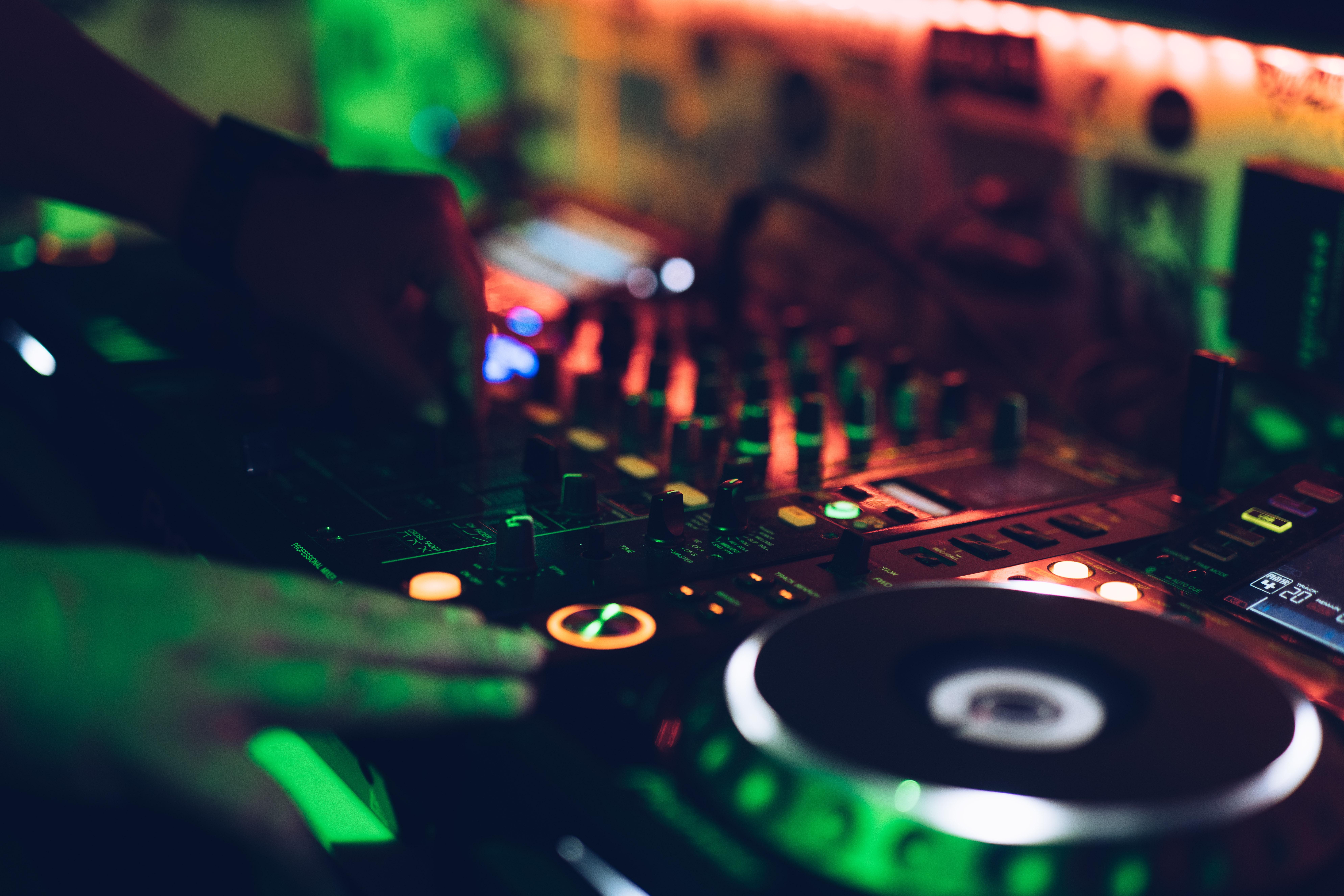 Music decks in a nightclub