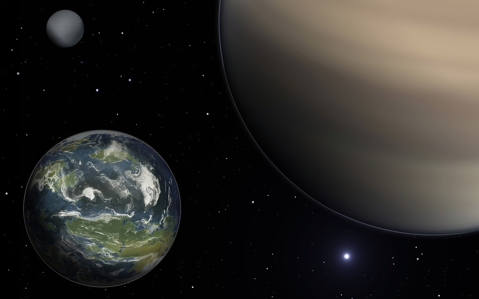 Artist rendering of three exoplanets