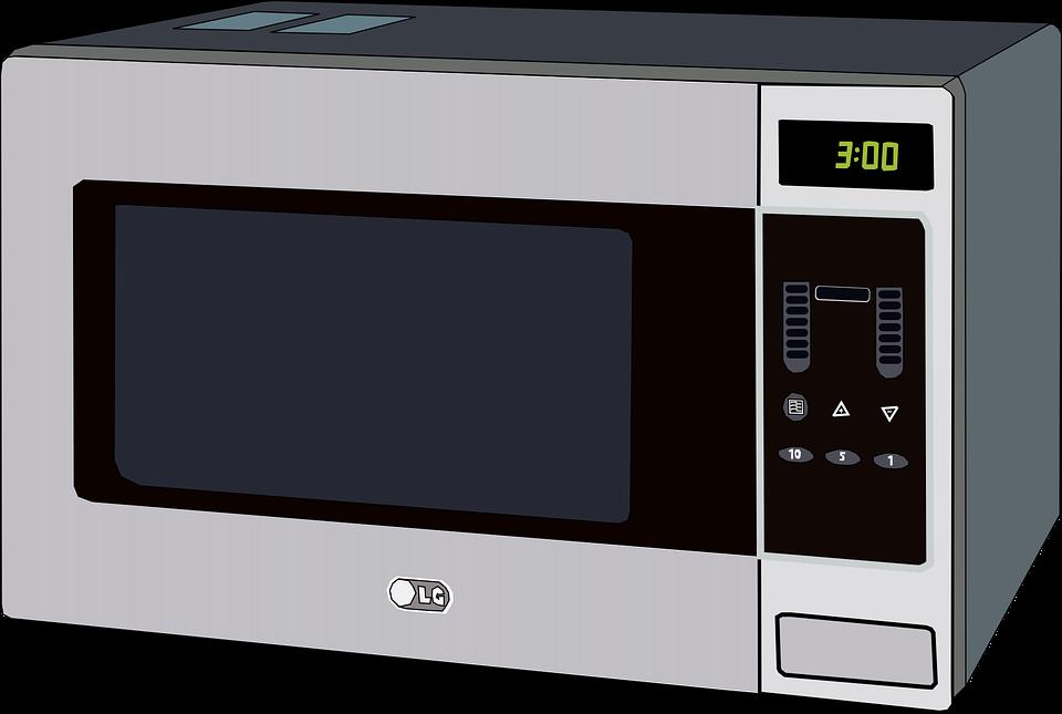 A silver digital microwave