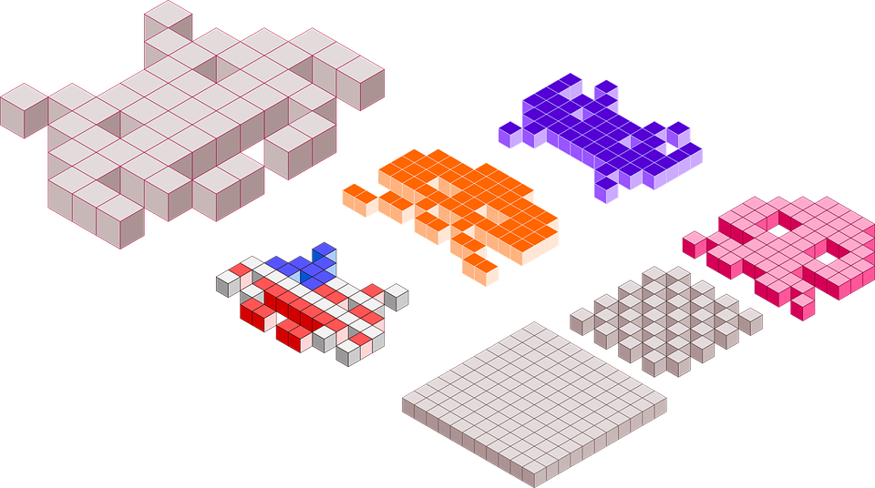 A group of retro game characters including Space Invaders