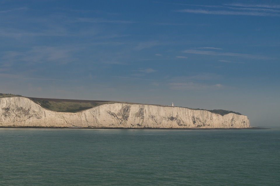 The white cliffs of Dover viewed from the sea.