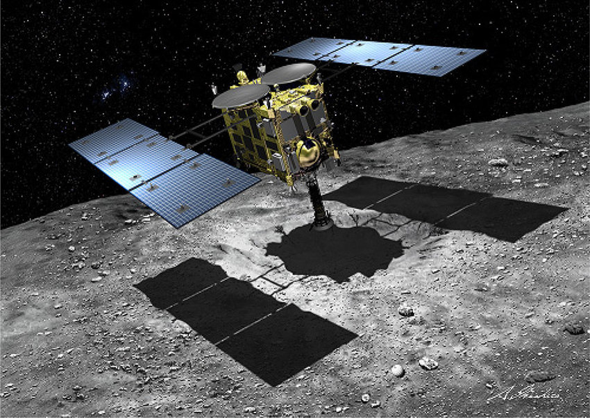An artist's impression of Hayabusa2 over an asteroid