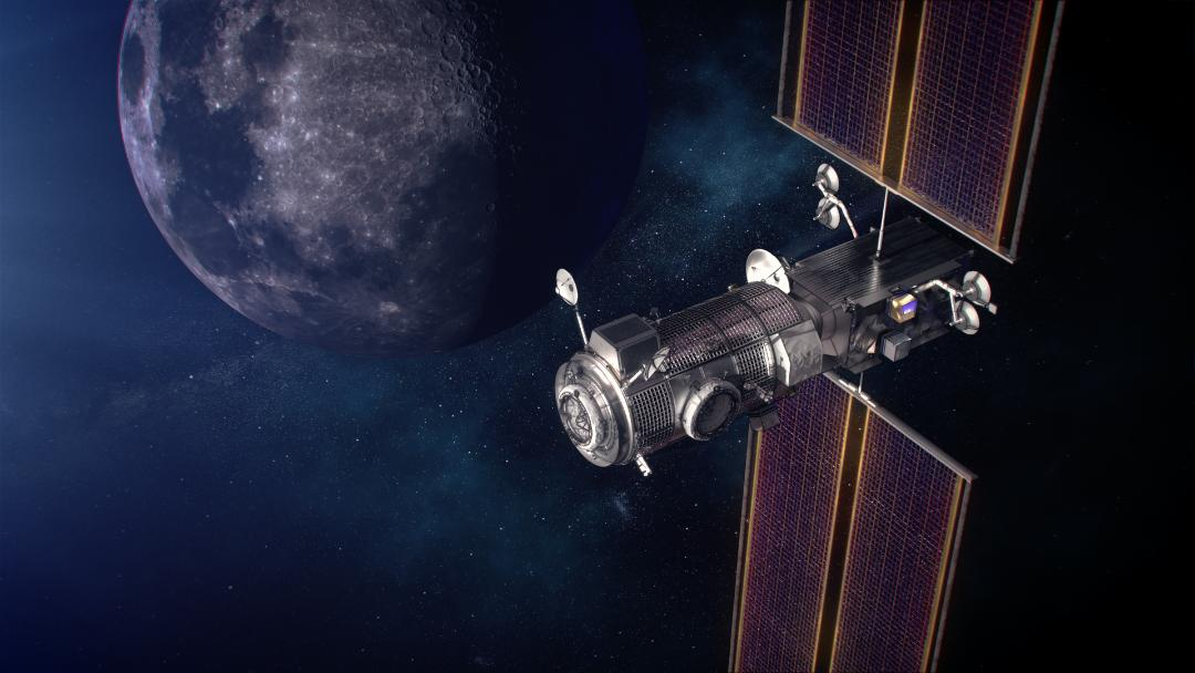 Artist's impression of the future of lunar exploration