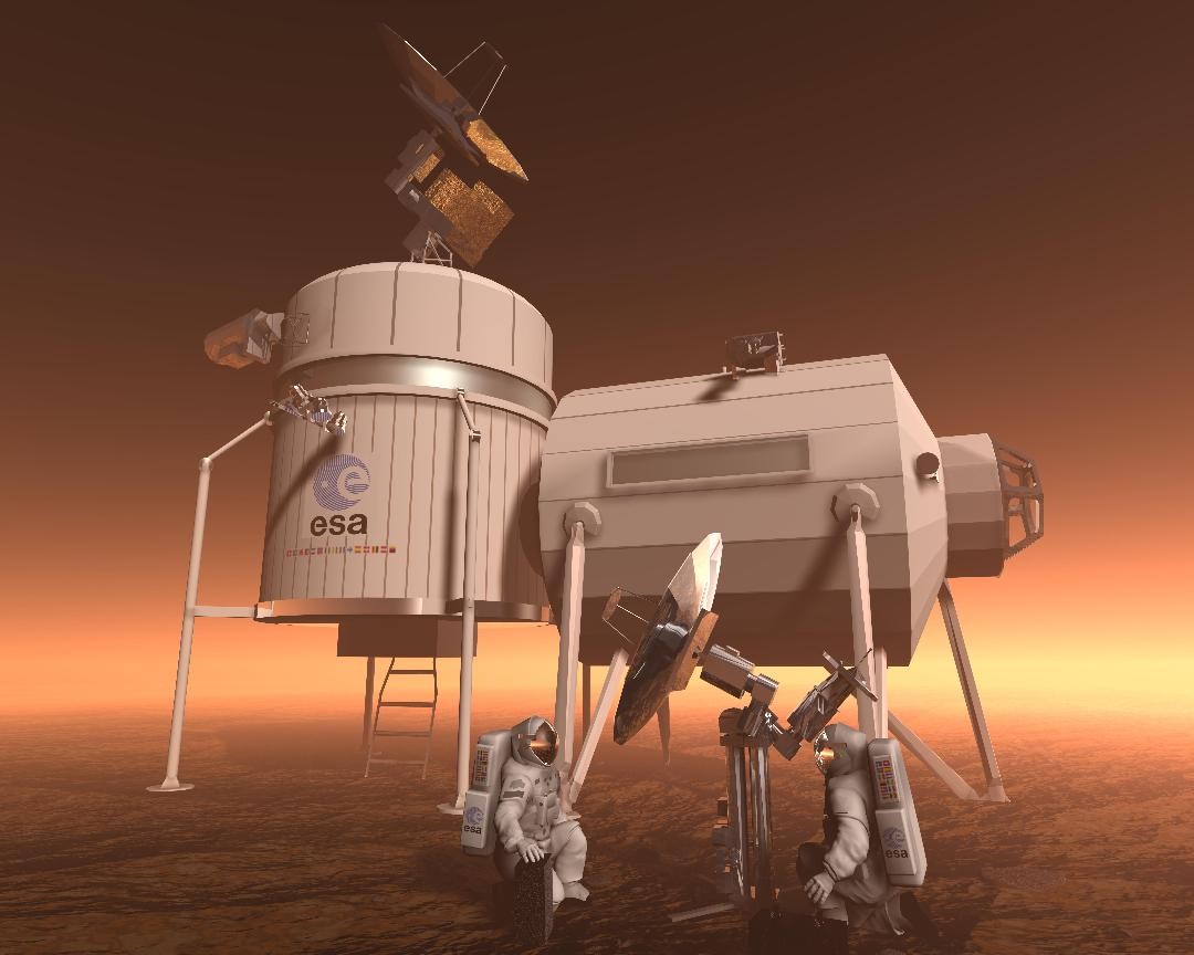 Artist's impression of how humans might live on Mars