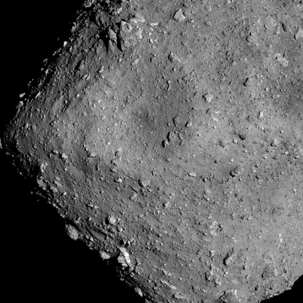 The asteroid Ryugu, out between the orbit of Earth and Mars, as photographed by the JAXA Hayabusa2 spacecraft.