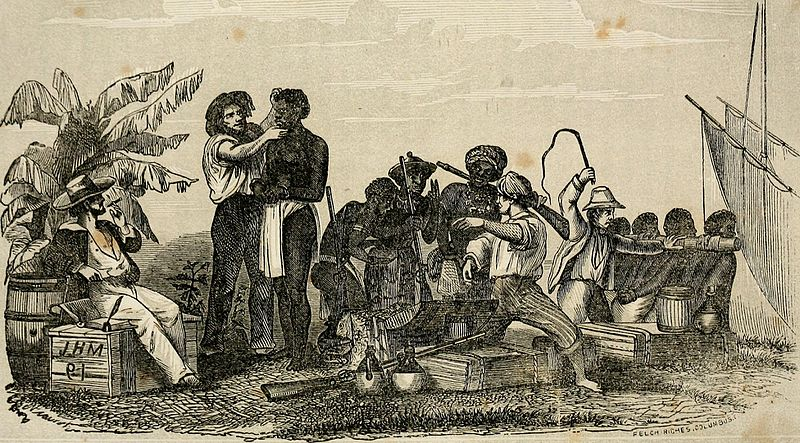 Illustration of slaves being inspected and loaded onto a ship.