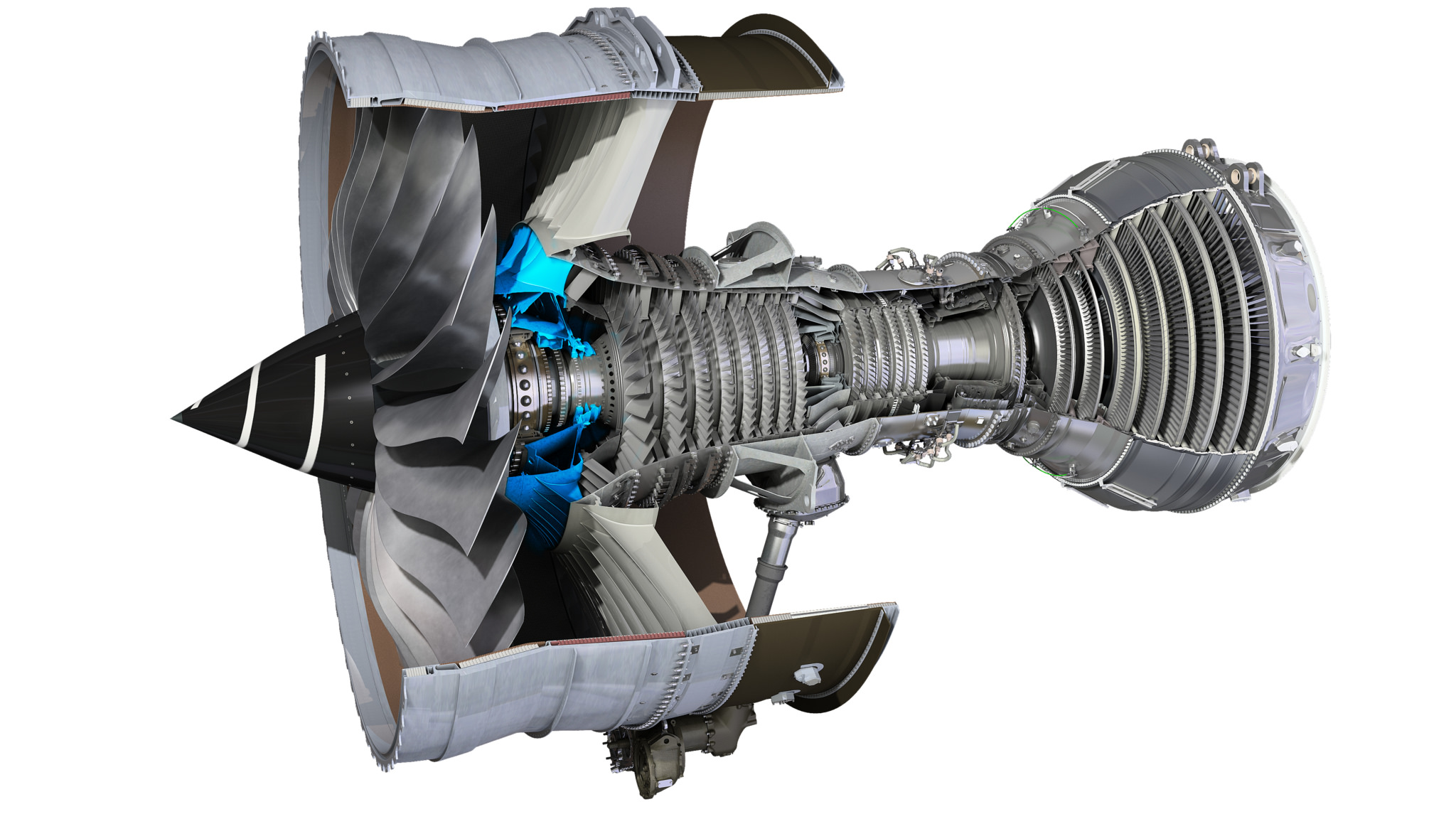 Trent XWB cut away showing position of the front bearing housing (in blue) which Rolls-Royce has produced using 3D printing.