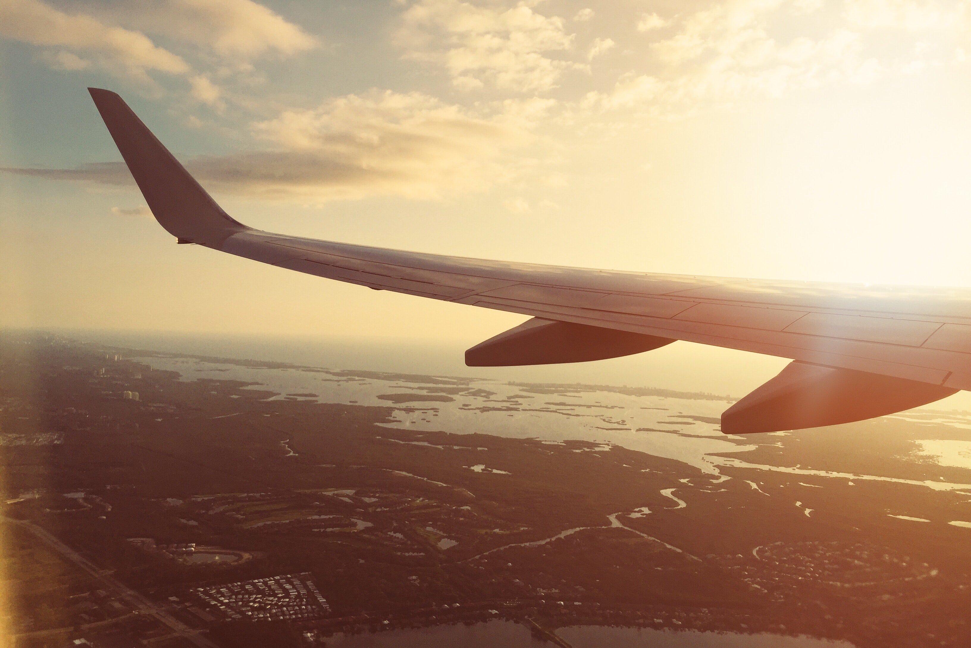 Aeroplane Wing at Sunset