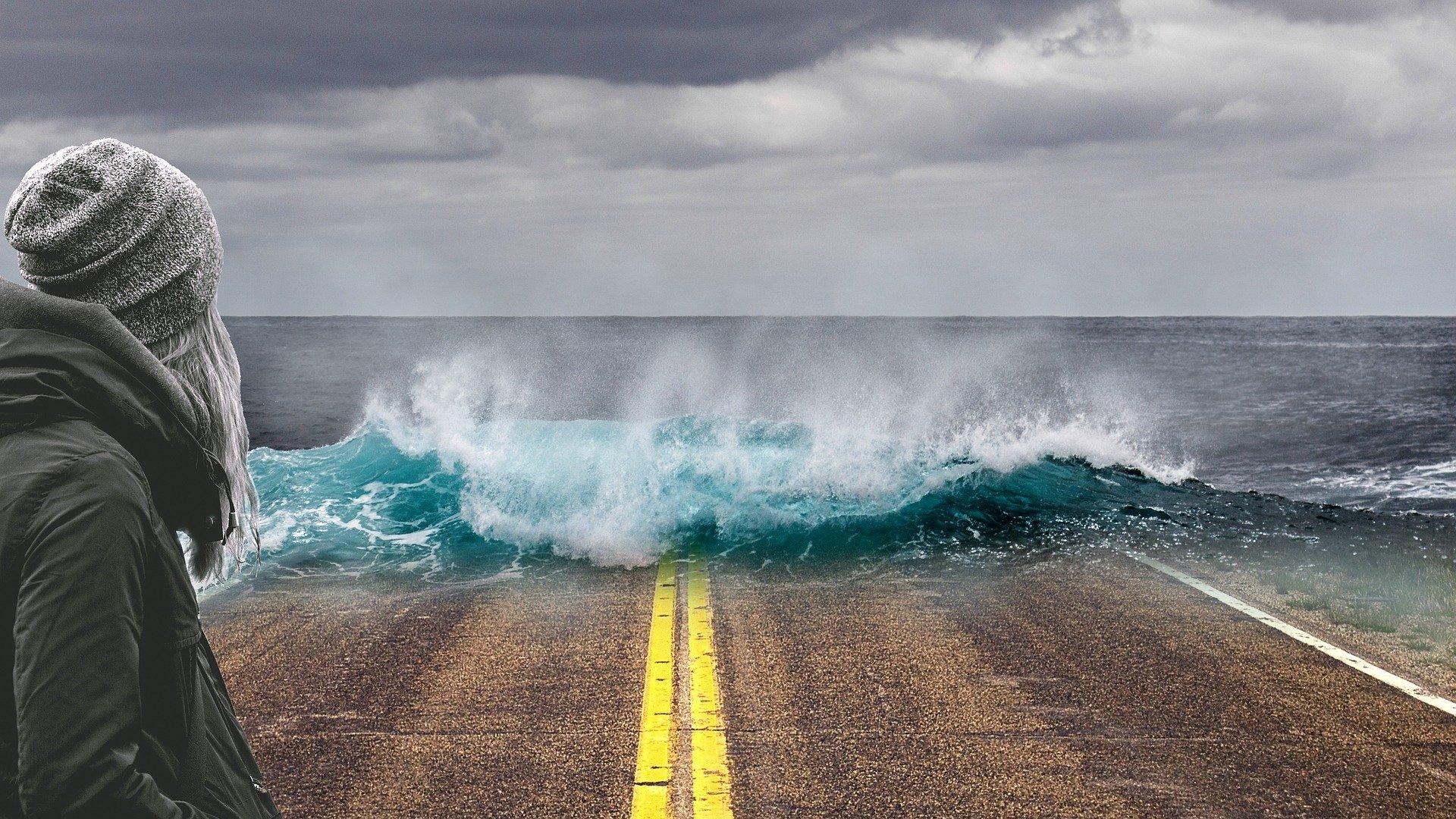 Illustration of rising sea levels