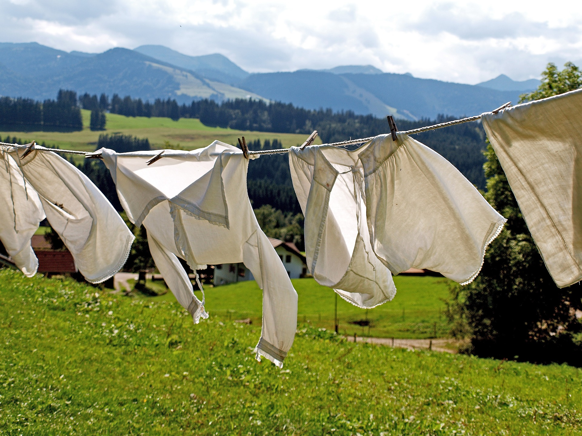 Shirts drying on a washing line