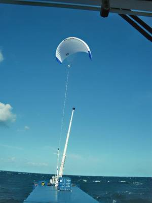 MV Theseus flying a SkySail