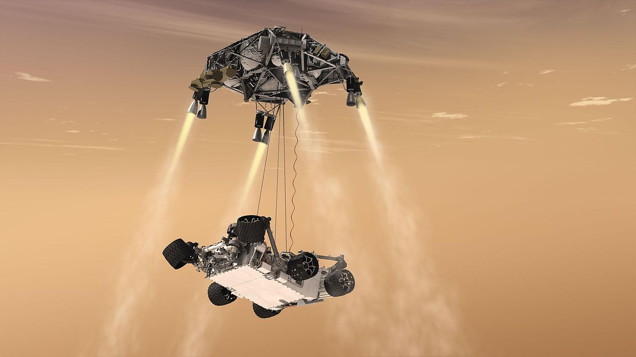 This artist's concept shows the sky crane maneuver during the descent of NASA's Curiosity rover to the Martian surface. The entry, descent, and landing (EDL) phase of the Mars Science Laboratory mission begins when the spacecraft reaches the Martian...