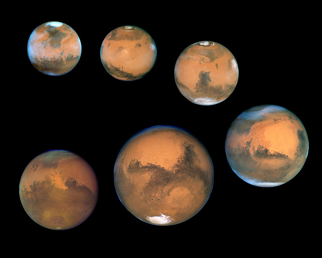 Mars Near Opposition 1995-2005 The orbits of the planets Earth and Mars provide a geometric line up that is out of this world! Every 26 months Mars is opposite the Sun in our nighttime sky. Since the repair of NASA's Hubble Space Telescope in 1993,...