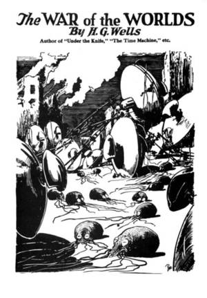 Interior illustration to H. G. Wells' novel The War of the Worlds from reprinting in Amazing Stories, August 1927.