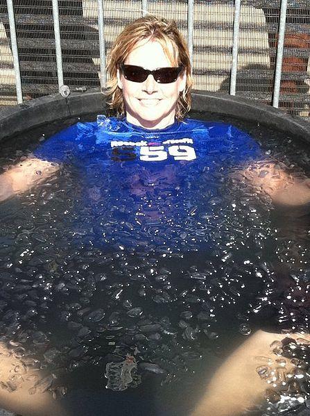 A man having an ice bath