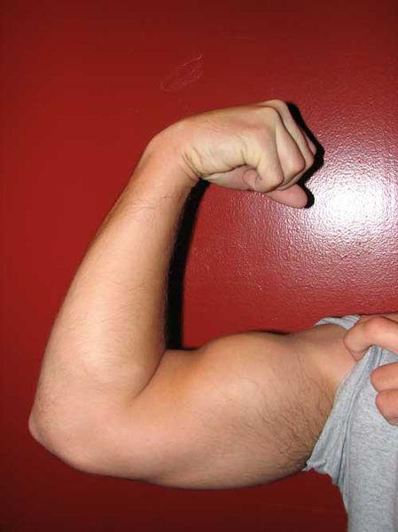 Man flexing arm