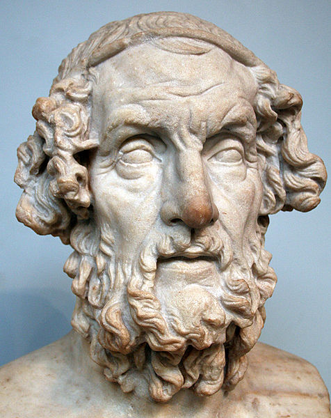 Marble terminal bust of Homer. Roman copy of a lost Hellenistic original of the 2nd c. BC. From Baiae, Italy. The so-called Hellenistic blind-type can be paralleled with figures of the Pergamon Altar, and the original of the type was perhaps created...