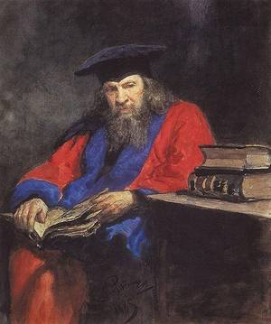 Portrait of Dmitry Ivanovich Mendeleev wearing the Edinburgh University professor robe.