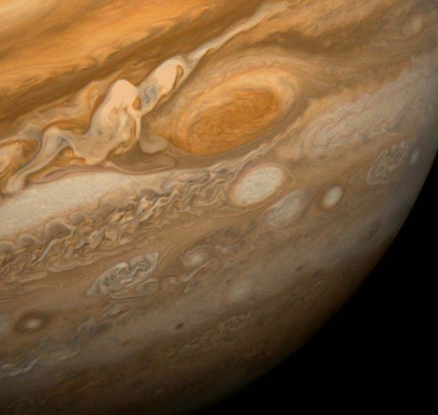 The Great Red Spot as seen from Voyager 1 This dramatic view of Jupiter's Great Red Spot and its surroundings was obtained by Voyager 1 on February 25, 1979, when the spacecraft was 5.7 million miles (9.2 million kilometers) from Jupiter. Cloud...