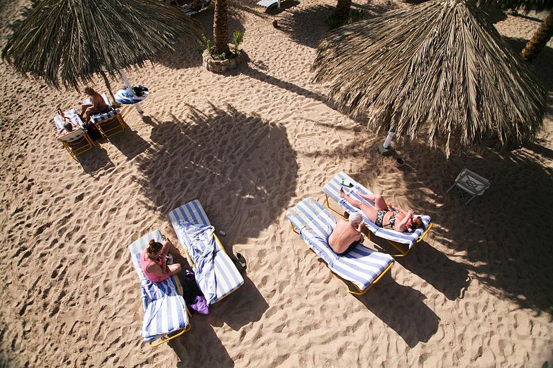 Sunbathing in Naama Bay, Sharm el-Sheikh, Egypt.