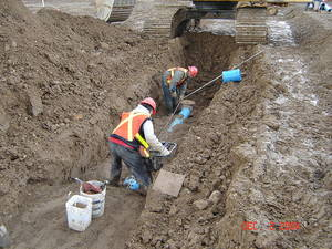 Typical PVC watermain installation in Ontario, Canada.
