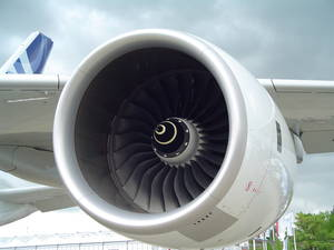 Rolls-Royce Trent 900 on the prototype Airbus A380. This aircraft carries four.