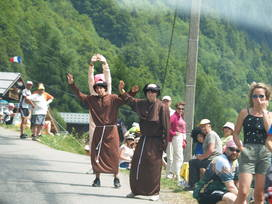 Fans dressed as monks
