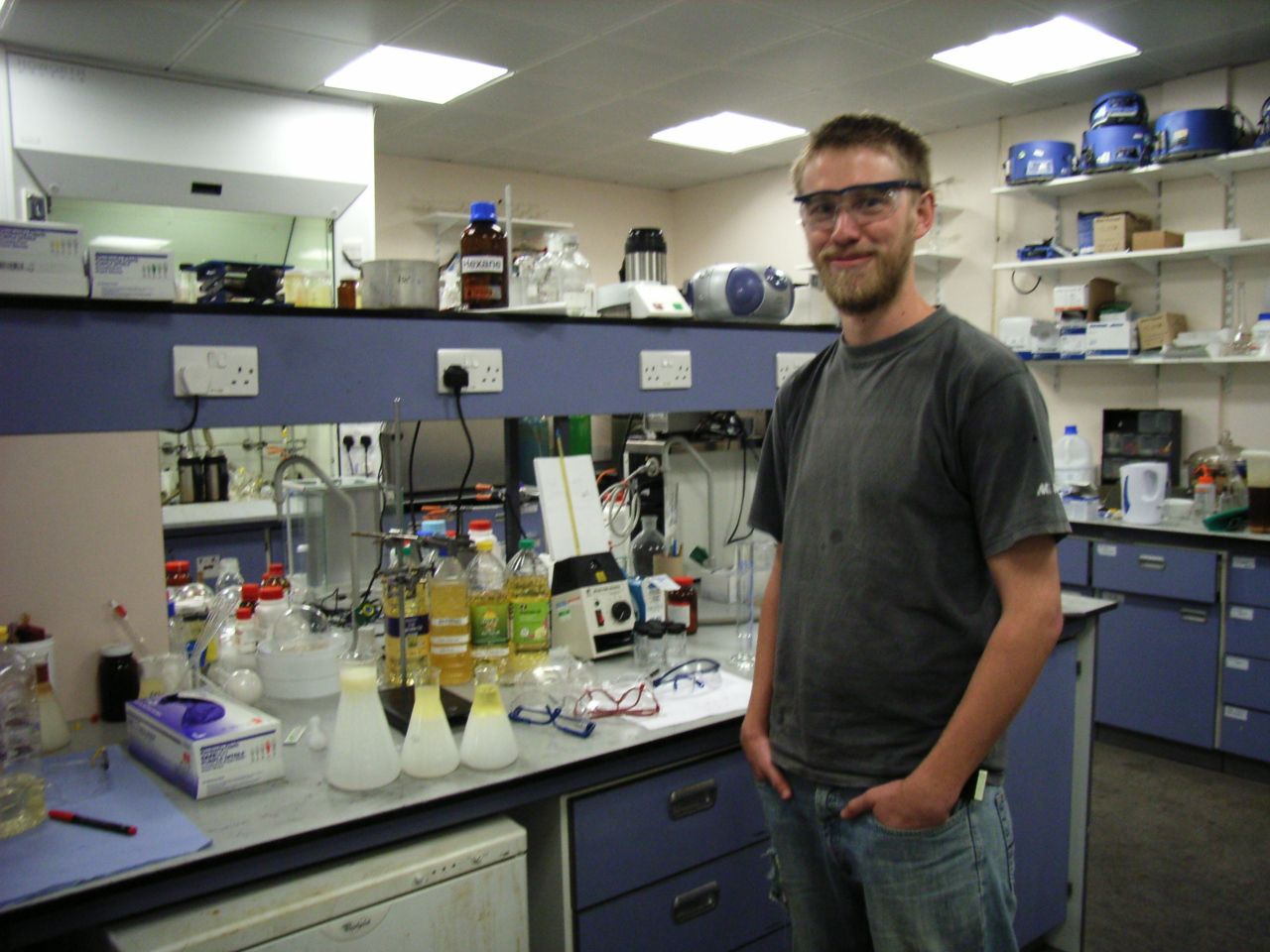 Bath University PhD Student Chris Chuck with a fresh batch of bio diesel, made from vegetable oil