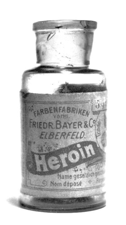 A pre-war bottle of Heroin, originally containing 5 grams of Heroin substance