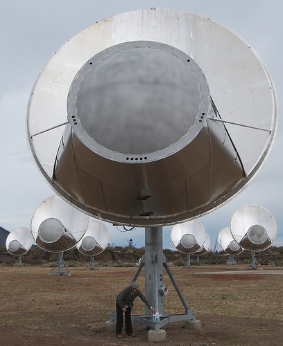Closeup front view of one antenna of the Allan Telescope Array, a radio telescope for combined radio astronomy and SETI (Search for Extraterrestrial Intelligence) research being built by the University of California at Berkeley, outside San...