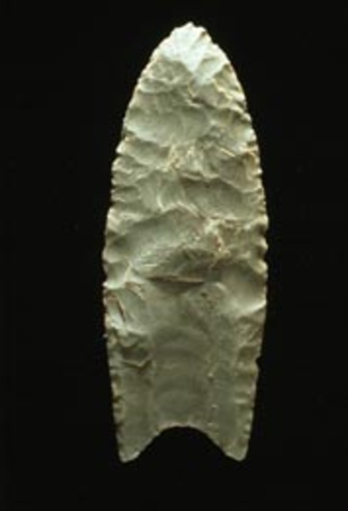 == {{int:filedesc}} == Clovis point (In the workplace) Example of a Clovis fluted blade that is 11,000 years old Image courtesy of the Virginia Dept. of Historic Resources. == {{int:license}} == <br style=\clear:both\ /> {| align=\CENTER\...