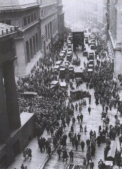 A solemn crowd gathers outside the Stock Exchange after the crash. 1929.