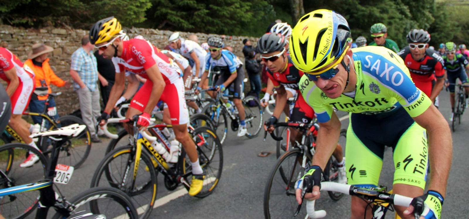 Cyclists make their way up the Cote de Buttertubs in Yorkshire for the Tour de France