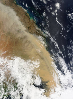 23 September 2009 MODIS Terra satellite image of dust storm over the eastern Australia.