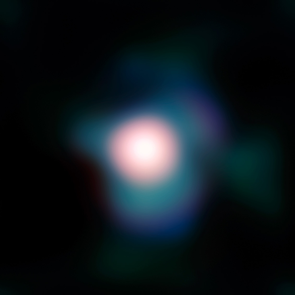 "Image of the supergiant star Betelgeuse obtained with the NACO adaptive optics instrument on ESO's Very Large Telescope. The use of NACO combined with a so-called ""lucky imaging"" technique, allowed the astronomers to obtain the sharpest ever image of..."