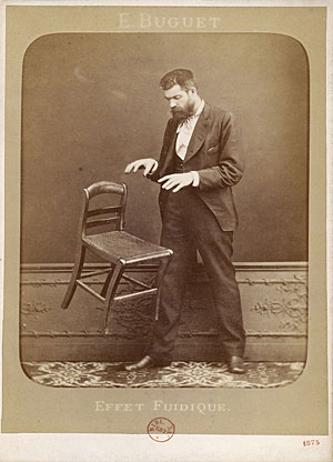 French spirit photographer Édouard Isidore Buguet (1840-1901) demonstrates telekinesis in this hoaxed 1875 photograph titled Fluidic Effect. Buguet was arrested the same year for faking his ghost photographs and he served a year in prison. [1] The...