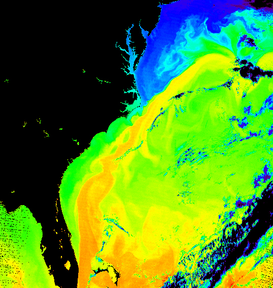 Water temperatures in the West Atlantic, showing the Gulf stream as the warm band of water stretching to the NE.