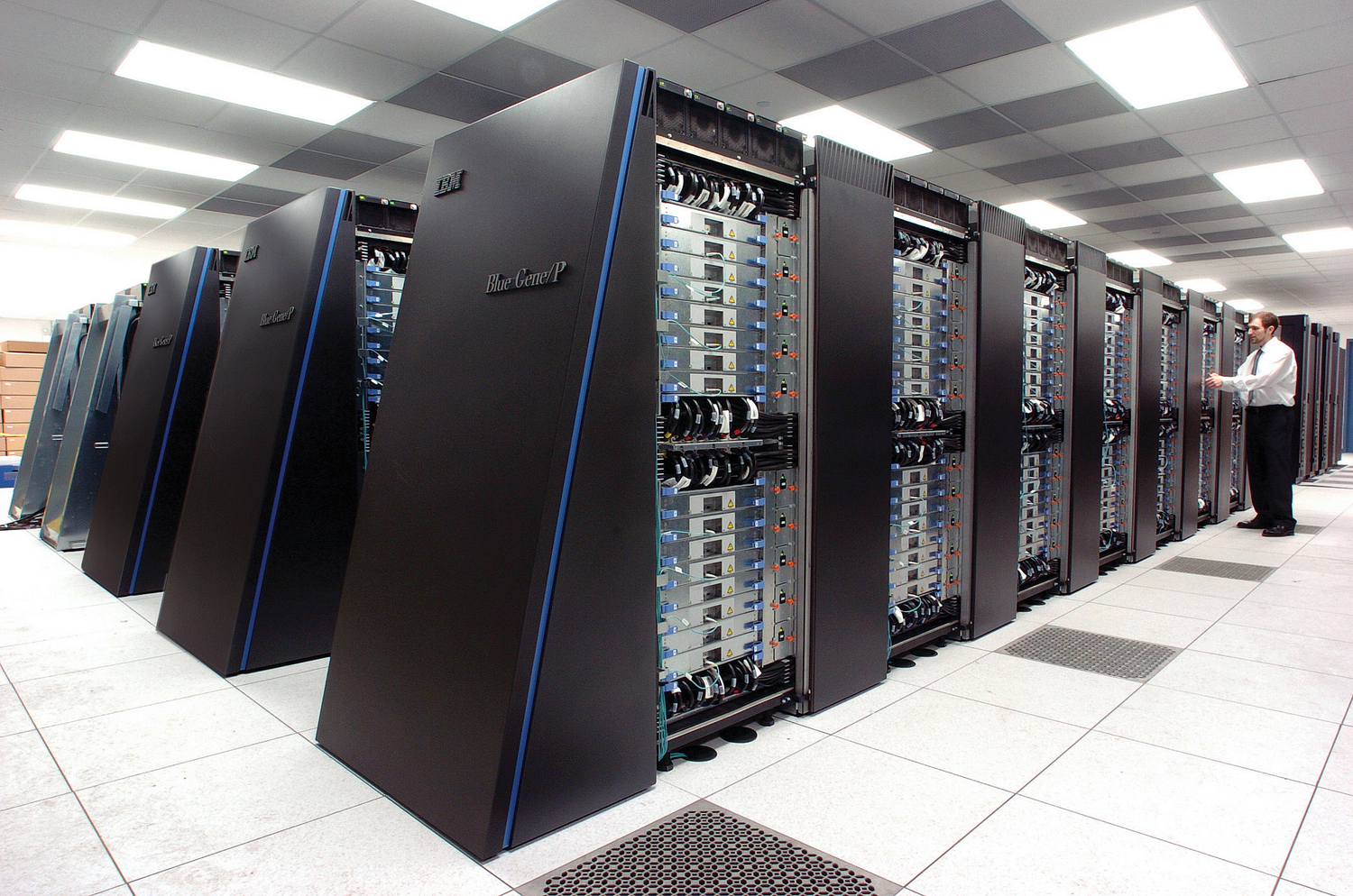 The Blue Gene/P supercomputer at Argonne National Lab runs over 250,000 processors at room temperature, grouped in 72 racks/cabinets connected by a high-speed, optical network