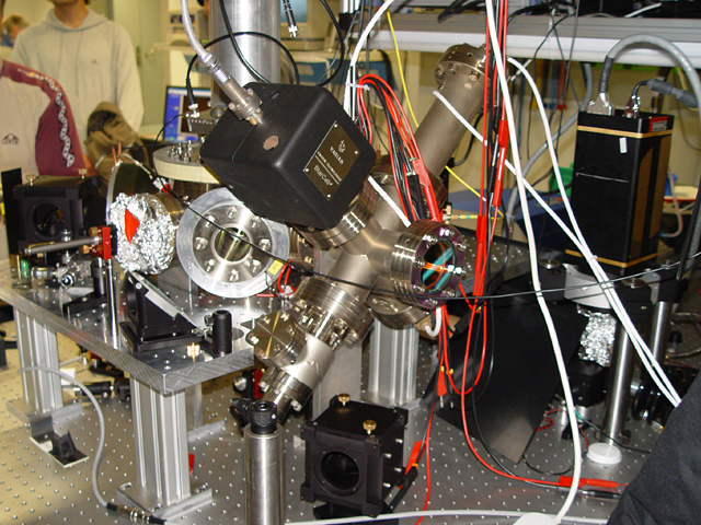An ion trap used with a quantum computer