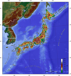 Topographic map of Japan