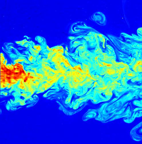 A false-color image of the far-field of a submerged turbulent jet, made visible by means of laser induced fluorescence (LIF).