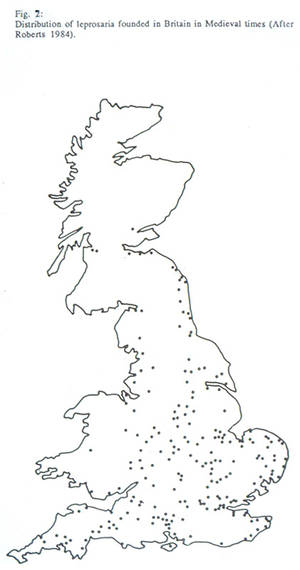 Distribution of leprosaria, leprosy hospitals, founded in medieval Britain.