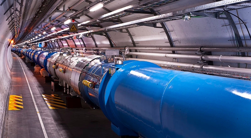 Scientists at CERN's Large Hadron Collider (LHC), the largest particle accelerator in the world, are searching for dark matter by smashing atoms together. 'Views of the LHC tunnel sector 3-4, tirage 2'
