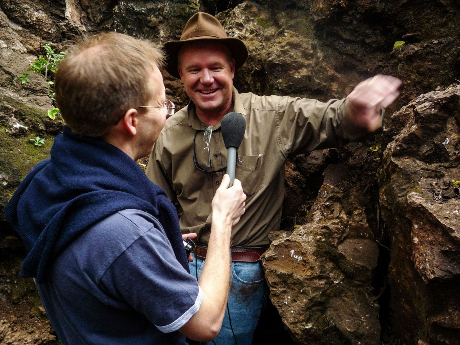 Chris Smith interviews Professor Lee Berger in the Malapa cave