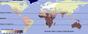 A traditional skin color map based on the data of Biasutti.