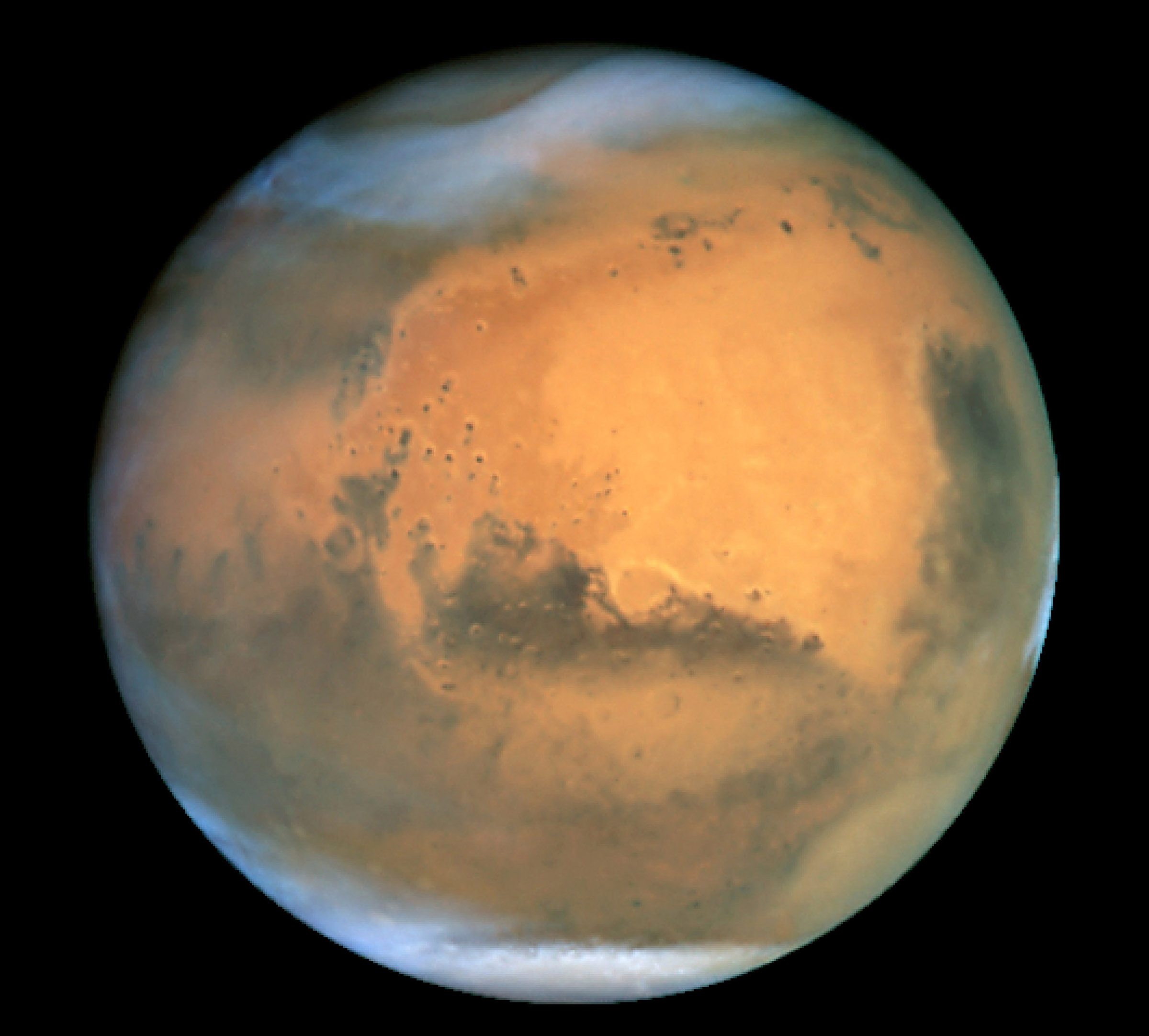 View of Mars from Hubble Space Telescope on June 26, 2001.