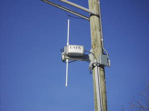 A photograph of a metro Wi-Fi antenna in Minneapolis, MN. Antennas like these are placed across a metro area to create a wireless mesh network.