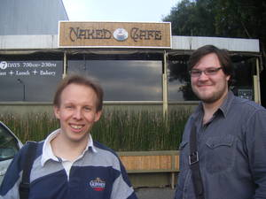 Chris and Ben at the Naked Cafe