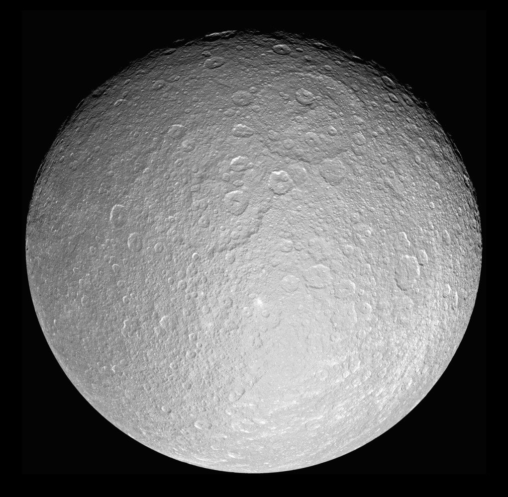 This giant mosaic reveals Saturn's icy moon Rhea in her full, crater-scarred glory. This view consists of 21 clear-filter images and is centered at 0.4 degrees south latitude, 171 degrees west longitude.